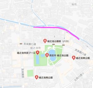 苦楽園の桜道の地図
