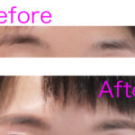 The photo of eyebrows before and after treatment