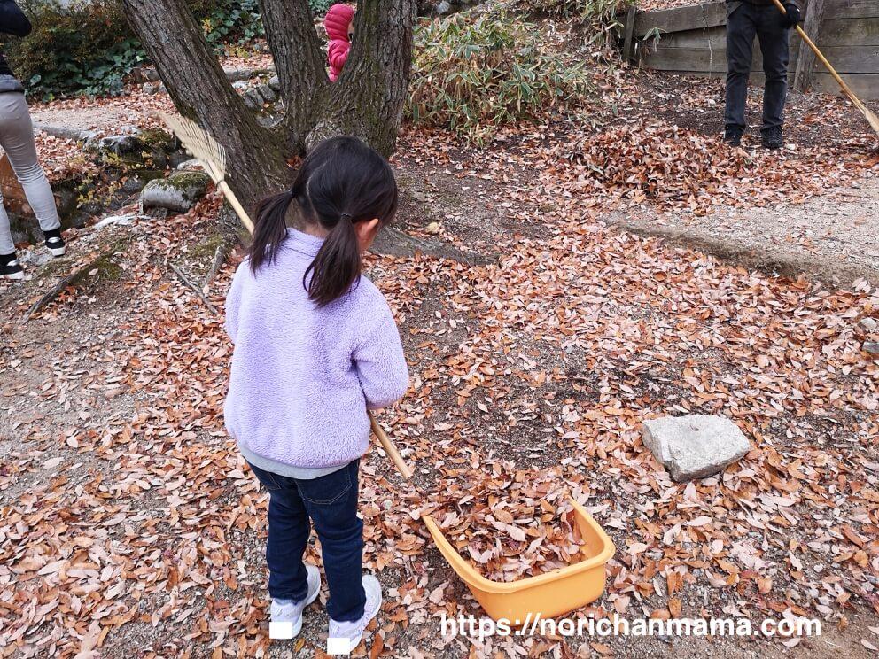 落ち葉拾いをする長女の写真